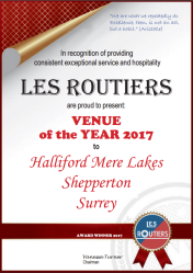 Les Routiers Venue of the Year 2017 Certificate